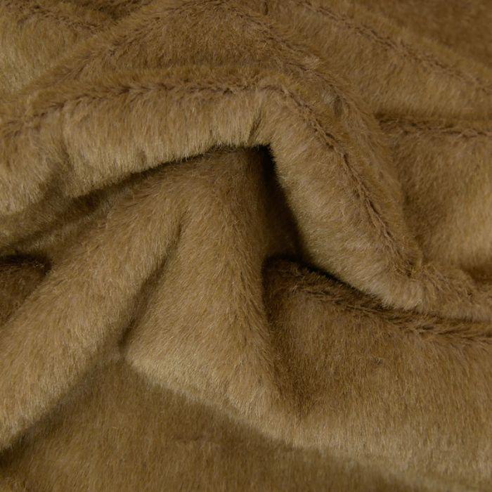 Tissu fausse fourrure - taupe x 10 cm