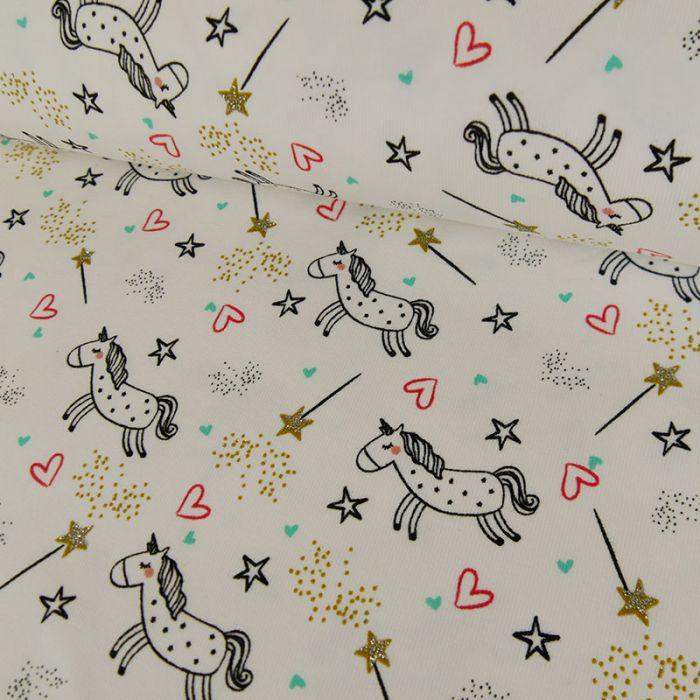 Coupon x 80 cm - Tissu jersey fin licornes dorées - écru x 10 cm