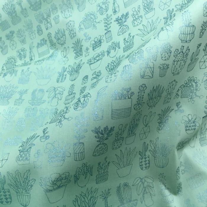 Coupon x 85 cm - Tissu coton cactus métallisé menthe