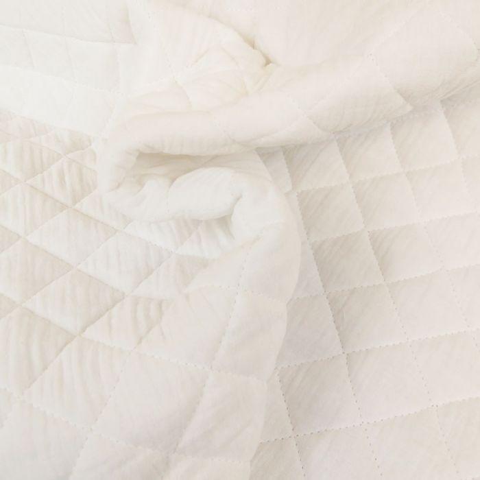 Tissu double gaze matelassé - blanc x 10 cm