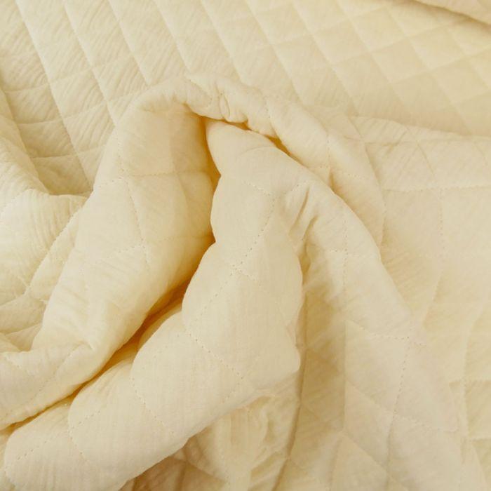 Tissu double gaze matelassé - vanille x 10 cm