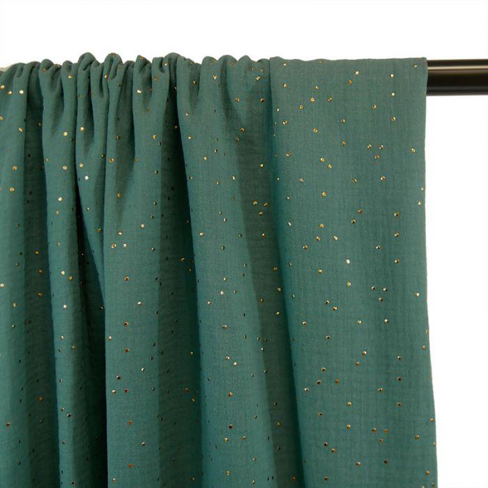 Coupon x 65 cm - Tissu double gaze pois dorés Eucalyptus