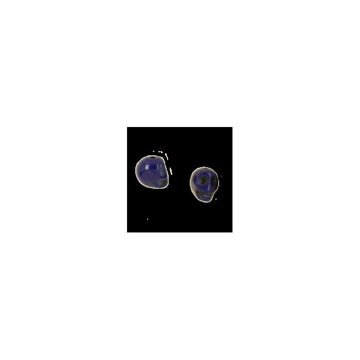 Perle tête de mort en résine 14mm bleu foncé x1