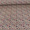 Tissu coton enduit fleurs - rouge bleu x 10 cm