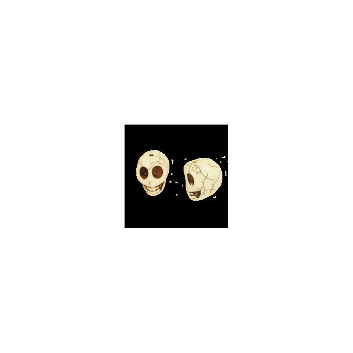 Perle tête de mort en résine 18mm blanc x1
