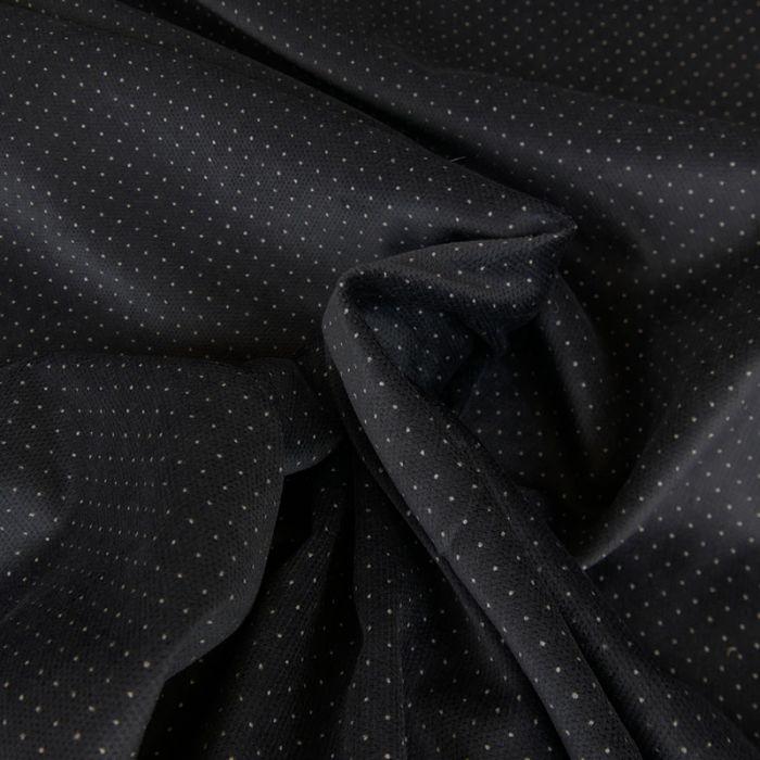 Tissu velours pois - bleu foncé x 10 cm