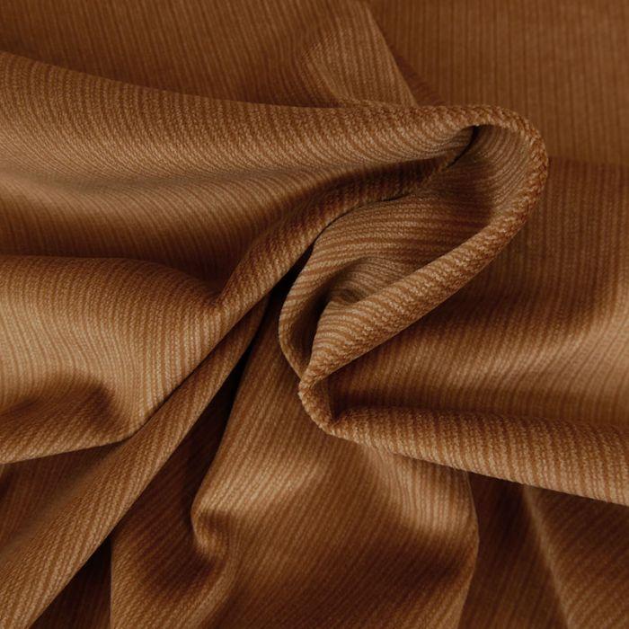 Tissu velours ras imprimé rayures - camel x 10 cm