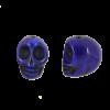 Perle tête de mort en résine 18mm bleu foncé x1