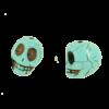 Perle tête de mort en résine 18mm bleu turquoise x1