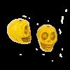 Perle tête de mort en résine 18mm jaune x1