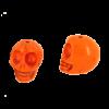 Perle tête de mort en résine 18mm orange x1