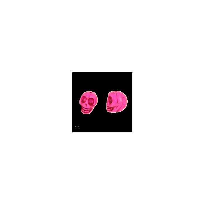 Perle tête de mort en résine 18mm rose x1