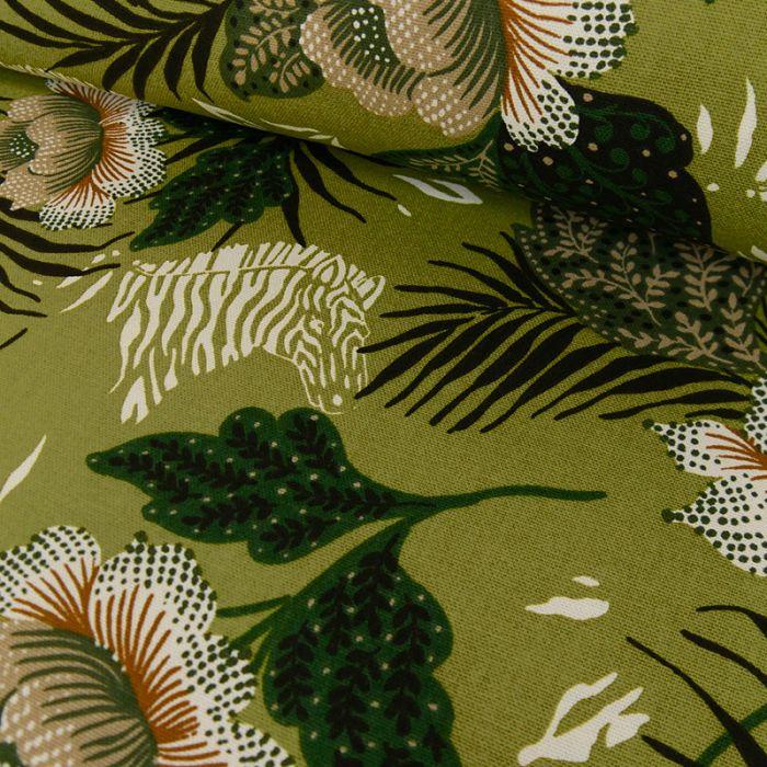 Tissu cretonne coton zèbres - kaki x 10 cm