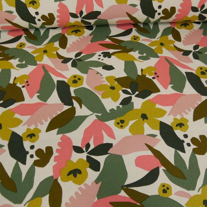 Tissu cretonne coton fleurs colorées - blanc x 10 cm