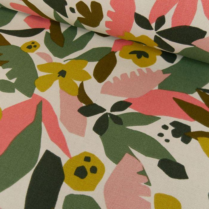 Tissu toile de coton fleurs colorées - blanc x 10 cm