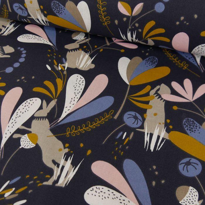 Tissu coton lapins - bleu marine x 10cm