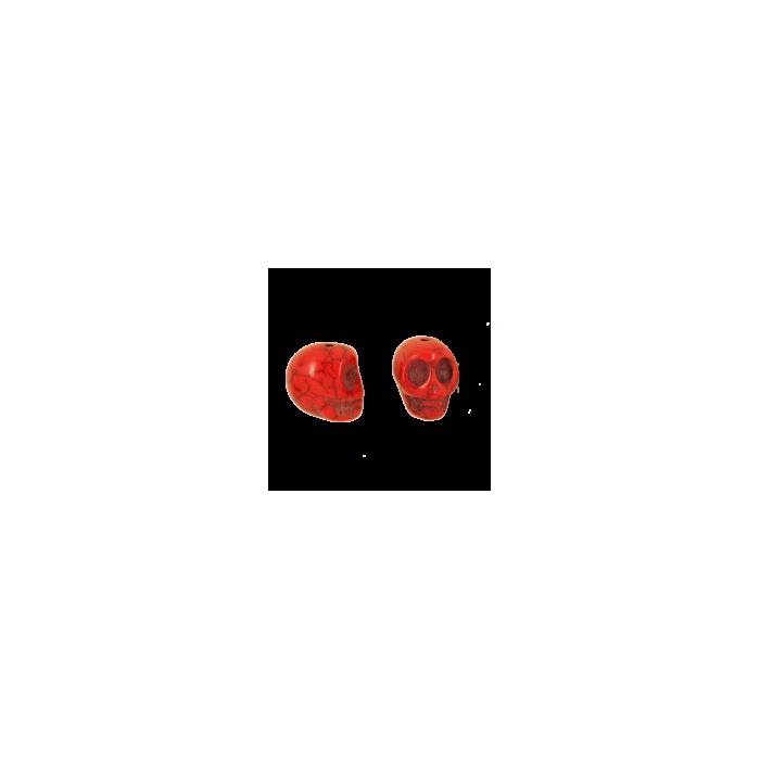 Perle tête de mort en résine 18mm rouge x1