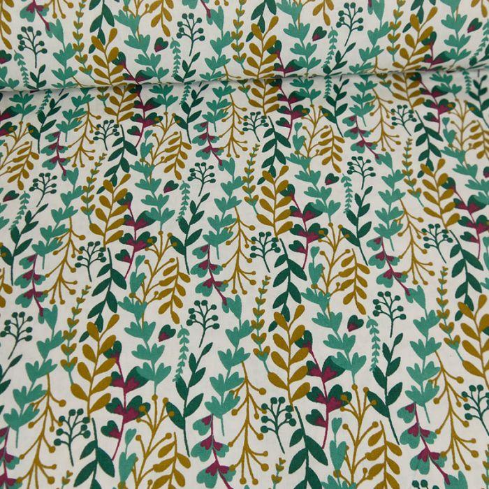 Tissu coton feuilles vertes - blanc x 10cm