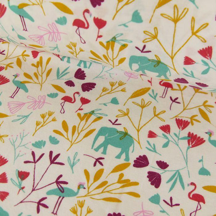 Tissu jersey coton éléphants et fleurs - blanc x 10cm