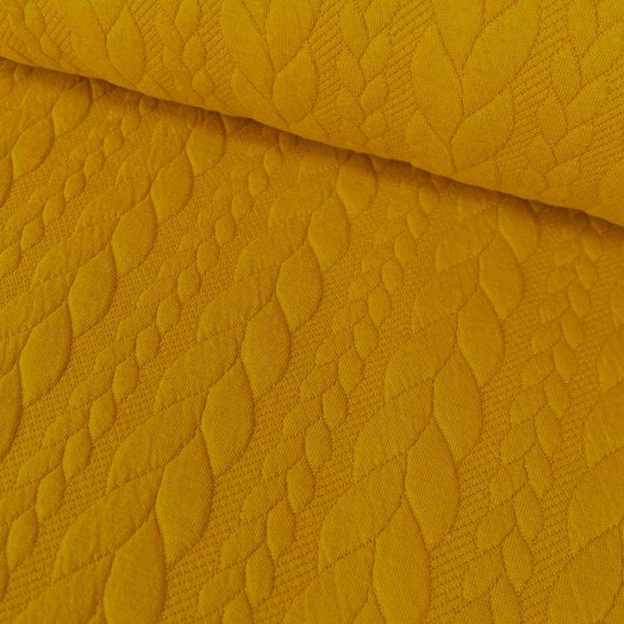 Coupon x 40 cm - Tissu jersey matelassé torsades moutarde