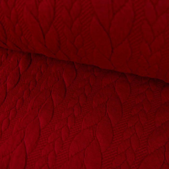 Coupon x 90 cm - Tissu jersey matelassé torsades rouge