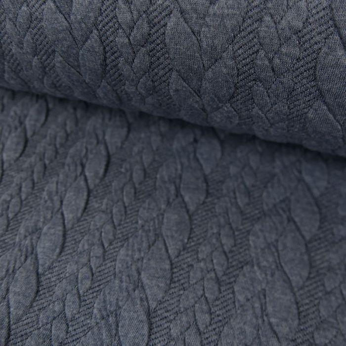 Coupon x 80 cm - Tissu jersey matelassé torsades bleu Chiné