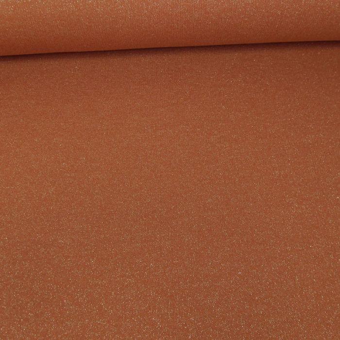 Coupon x 30 cm - Tissu molleton sweat lurex or rouille