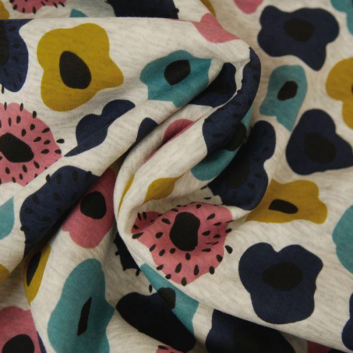 Coupon x 30 cm - Tissu Molleton Sweat Fleurs Bleu