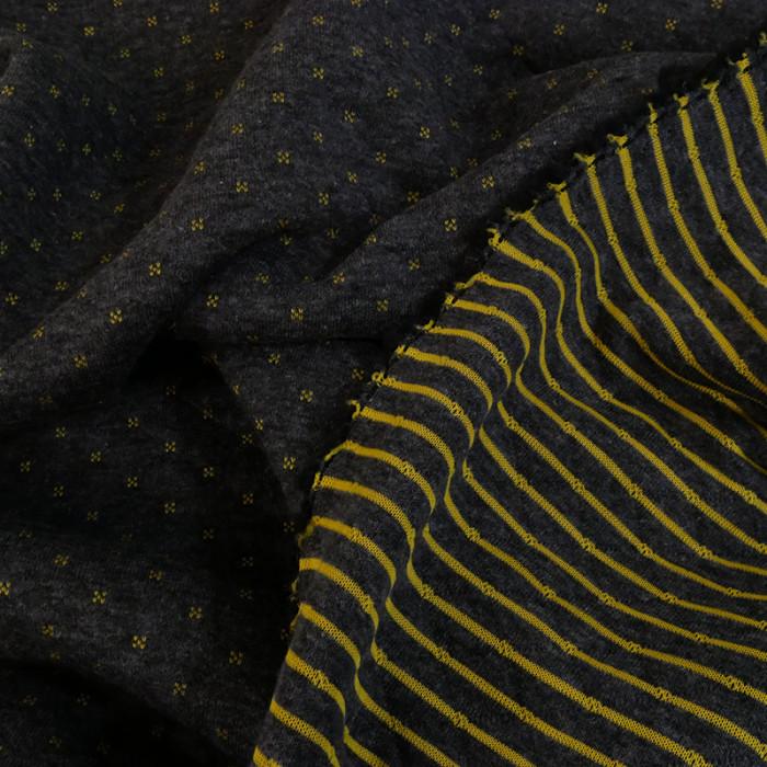 Coupon x 50 cm - Jersey matelassé reversible gris anthracite/jaune