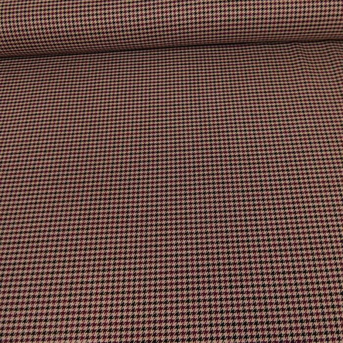 Tissu polyviscose pied de poule - beige x 10 cm