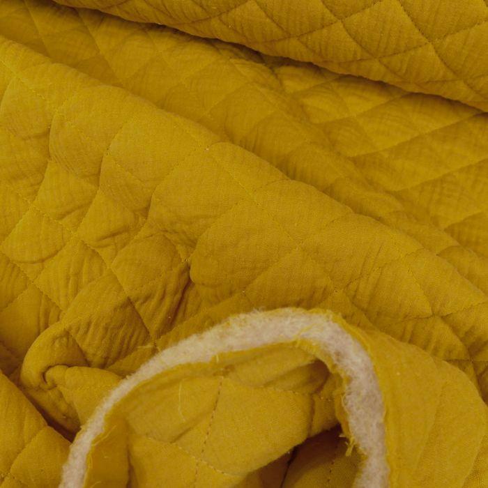 Tissu double gaze matelassé - moutarde x 10 cm