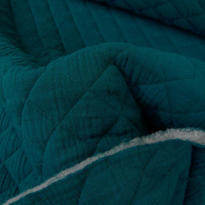 Tissu double gaze matelassé - bleu paon x 10 cm