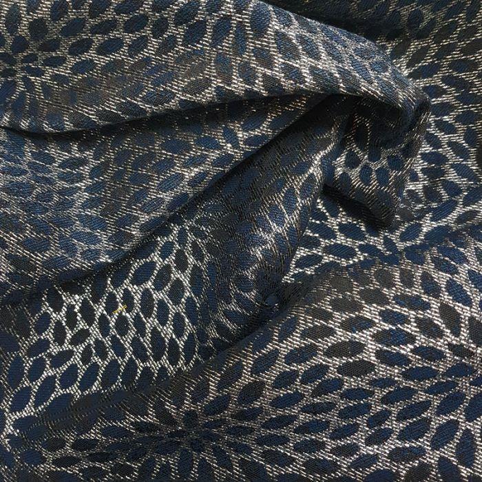 Tissu jacquard lurex argenté - bleu foncé x 10 cm