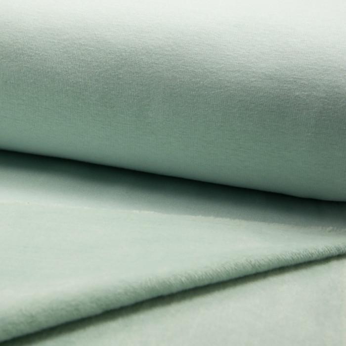 coupon x 70 cm - Tissu molleton mint foncé envers doudou