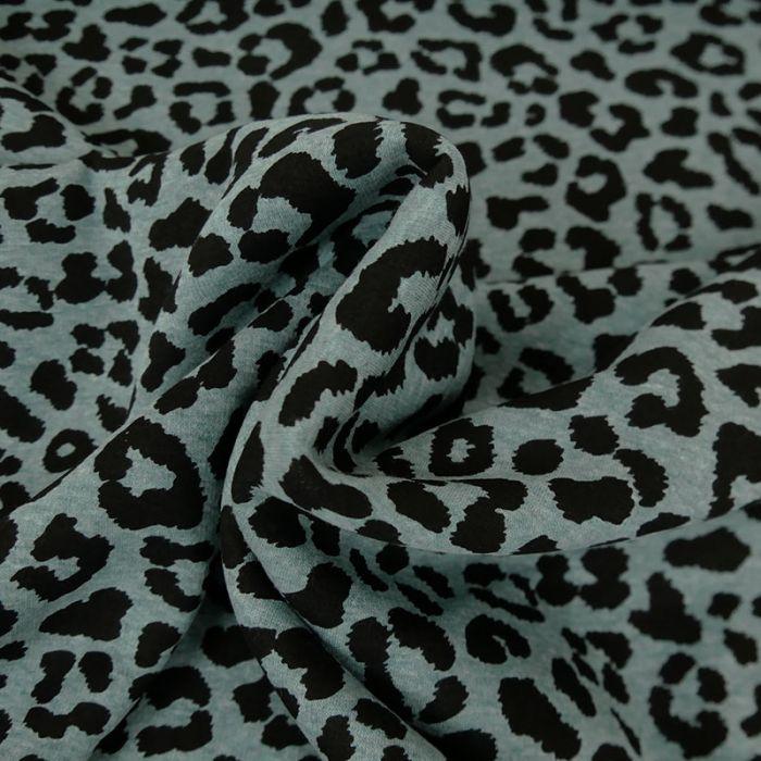 Coupon x 85 cm - Tissu jersey sweat léopard bleu