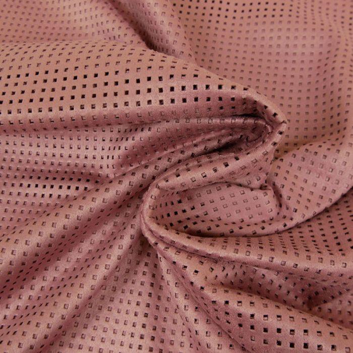 Tissu suédine ajourée - vieux rose x 10 cm