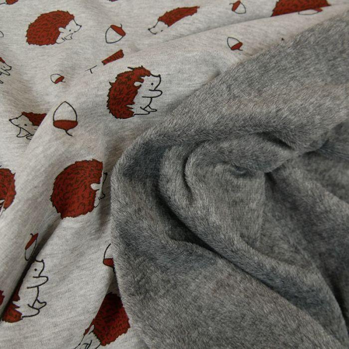 Tissu molleton hérisson envers minky - gris x 10 cm