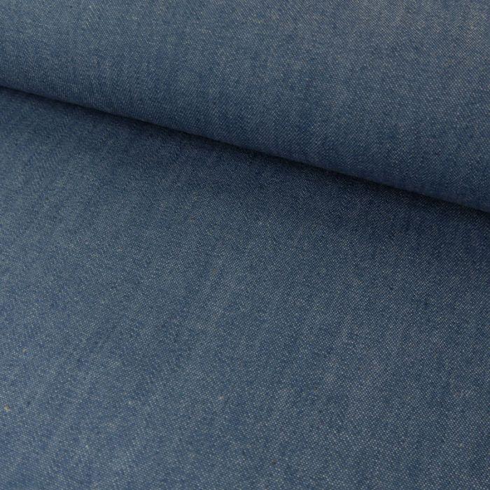 Tissu chambray coton uni - bleu washed x 10 cm