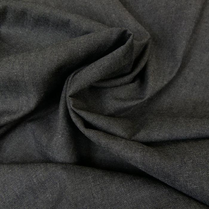 Tissu chambray coton uni - noir x 10 cm