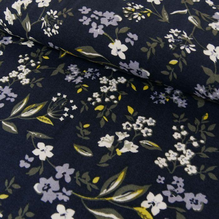 Tissu viscose fleurs - marine x 10 cm