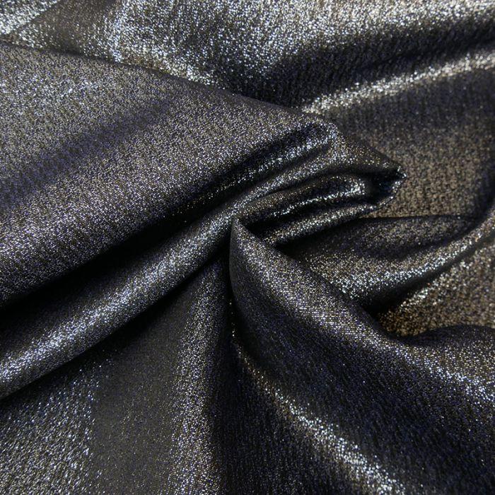 Tissu brocart lurex - marine x 10 cm
