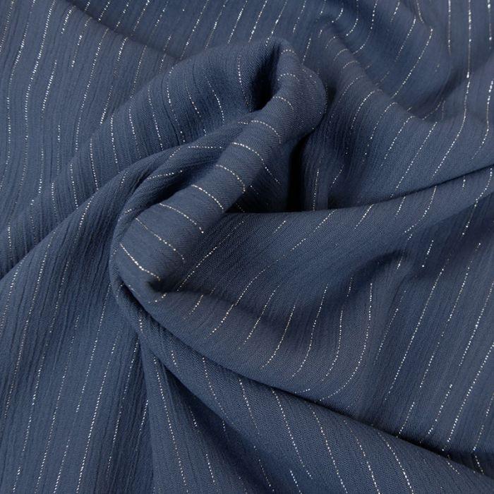 Tissu crépon viscose rayures lurex - bleu x 10 cm