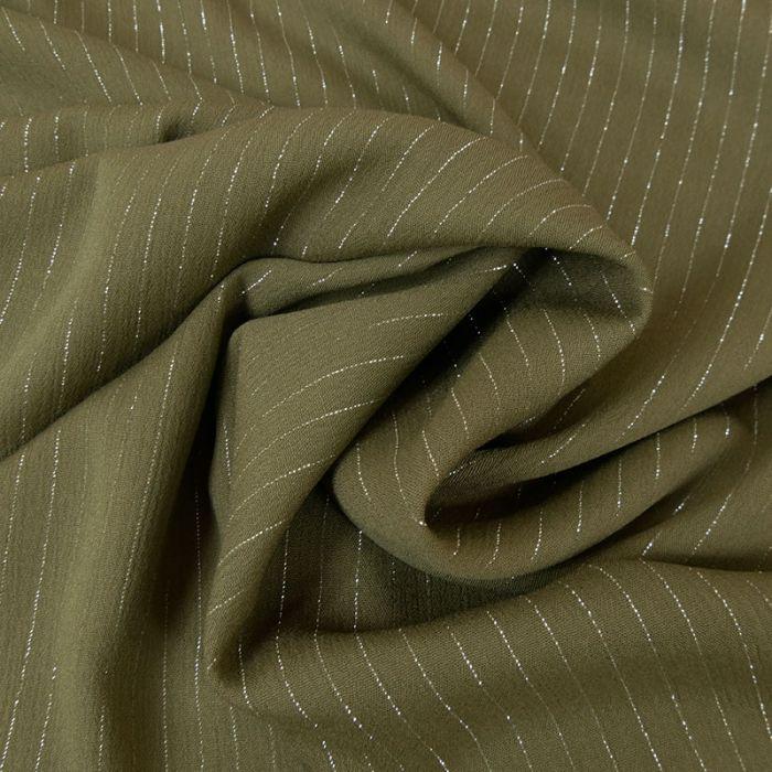 Tissu crépon viscose rayures lurex - kaki x 10 cm