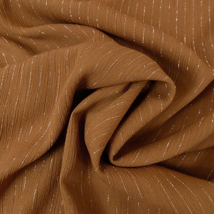 Tissu crépon viscose rayures lurex - camel x 10 cm