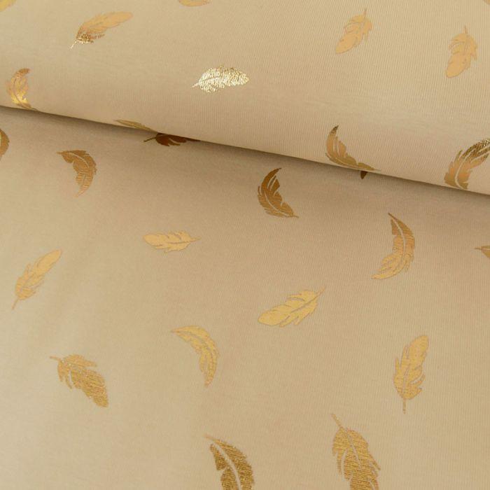 Tissu jersey plumes lurex - beige x 10cm