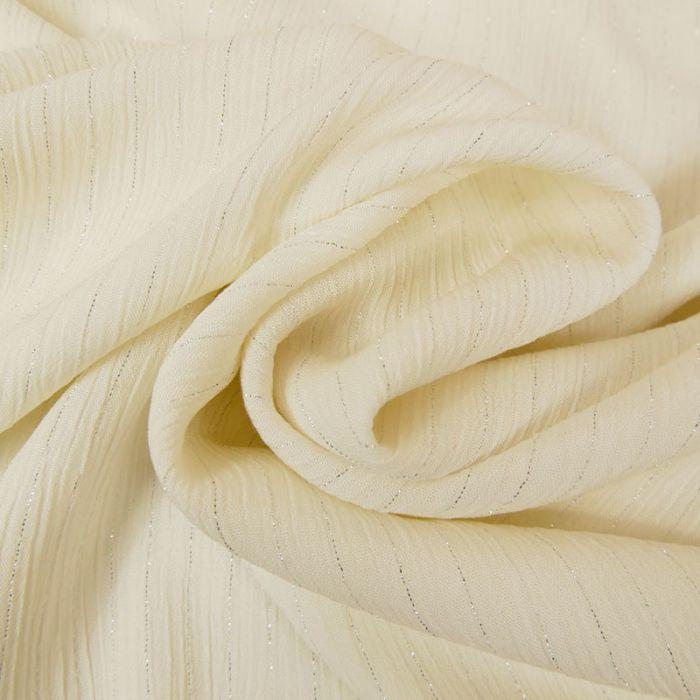 Tissu crépon viscose rayures lurex - écru x 10 cm
