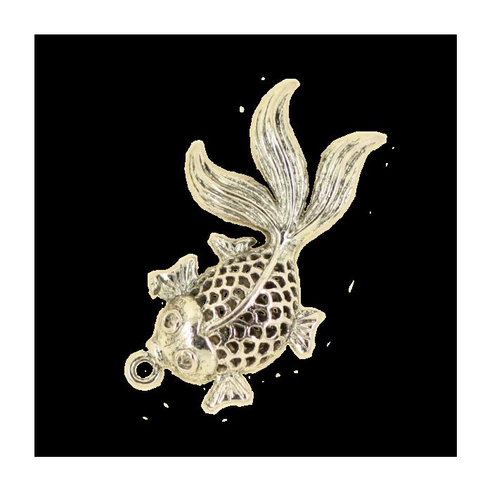 Breloque poisson 34mm argent x1