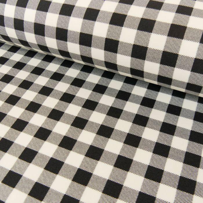 Tissu interlock carreaux blanc - noir x 10 cm