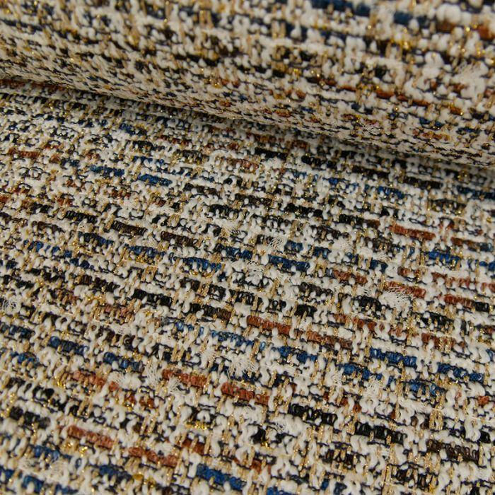 Coupon x 50 cm - Tissu tweed or marron blanc cassé