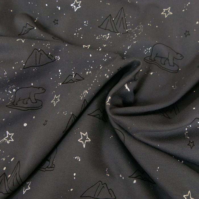 Coupon x 45 cm - Tissu jersey coton ours argent